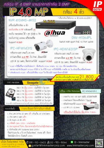 4 IP Cam 4.0 MP Dahua
